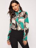 Tie Neck Chain Print Shirt