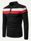 Men Cut And Sew Panel Striped Polo Shirt