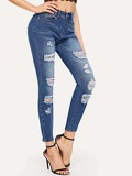 Ripped Faded Wash Jeggings