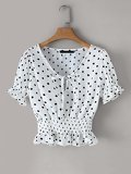 Tie Neck Shirred Polka Dot Blouse