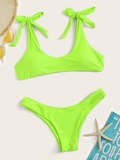 Neon Lime Knot Top With High Leg Bikini Set