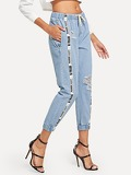 Letter Print Drawstring Ripped Jeans