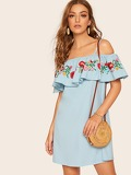 Floral Embroidery Ruffle Trim Cami Dress