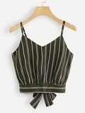 Striped Knot Back Cami Top