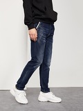 Men Drawstring Waist Ripped Jeans