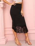 Contrast Lace Hem Zip Back Skirt