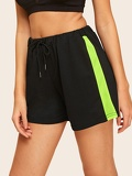 Contrast Panel Drawstring Waist Shorts