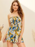 Tropical Print Shirred Tube Playsuit