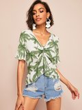 Drawstring Front Ruffle Trim Tropical Top
