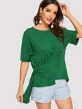 Draped Asymmetrical Hem Tee