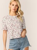 Roll-up Cuff Ditsy Floral Top