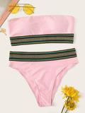 Striped Trim Bandeau With High Waist Bikini Set