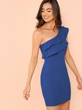 Tiered Flounce One Shoulder Dress
