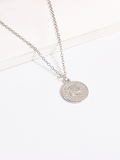Figure Engraved Round Pendant Necklace