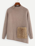 Faux Fur Pocket Patched Button Detail Sweater