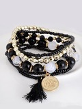 Coin & Tassel Layered Beaded Bracelet 1pc