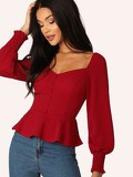 Shirred Cuff Button Front Peplum Top