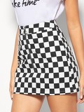 O-Ring Zip Fly Checkered Skirt