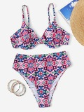 Random Graphic Print Underwire Top With High Waist Bikini