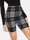 High Waist Plaid Textured Leggings