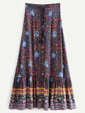 Knot Front Tribal Print Skirt