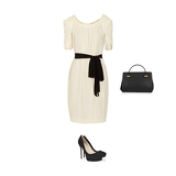 Belted pleated crepe dress, cosmic suede pumps, leather and suede doctor bag