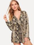 Snakeskin Print Button Front Romper