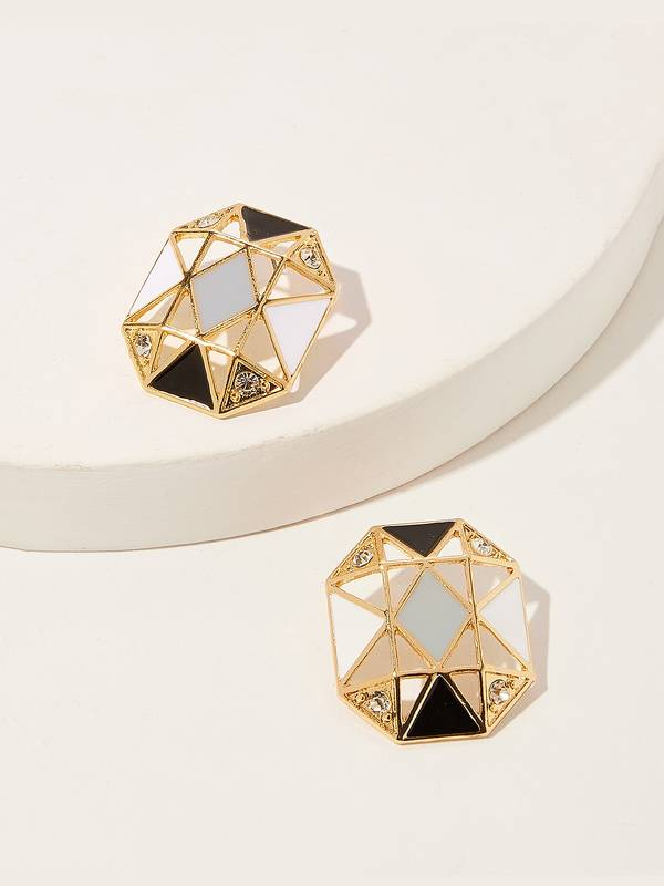 Geometric Hollow Stud Earrings 1pair