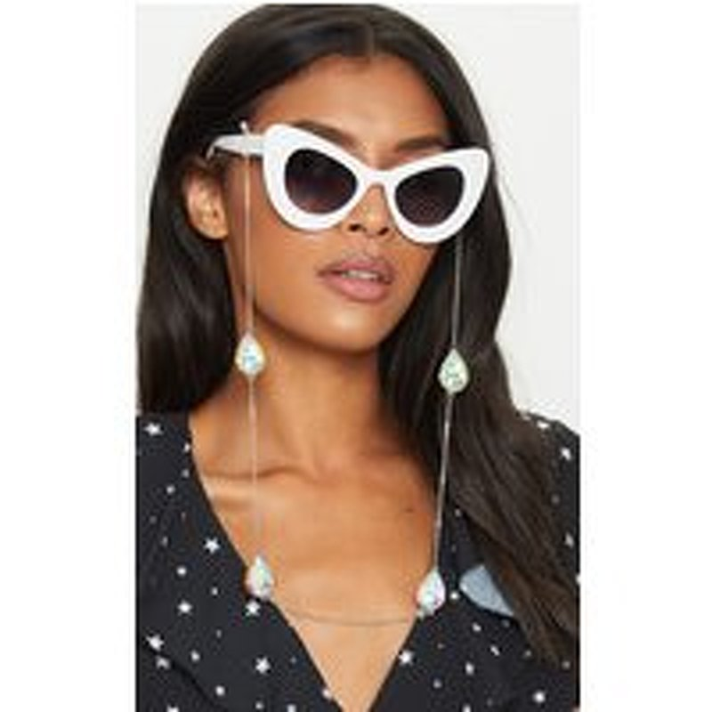Silver Iridescent Diamante Sunglasses Chain