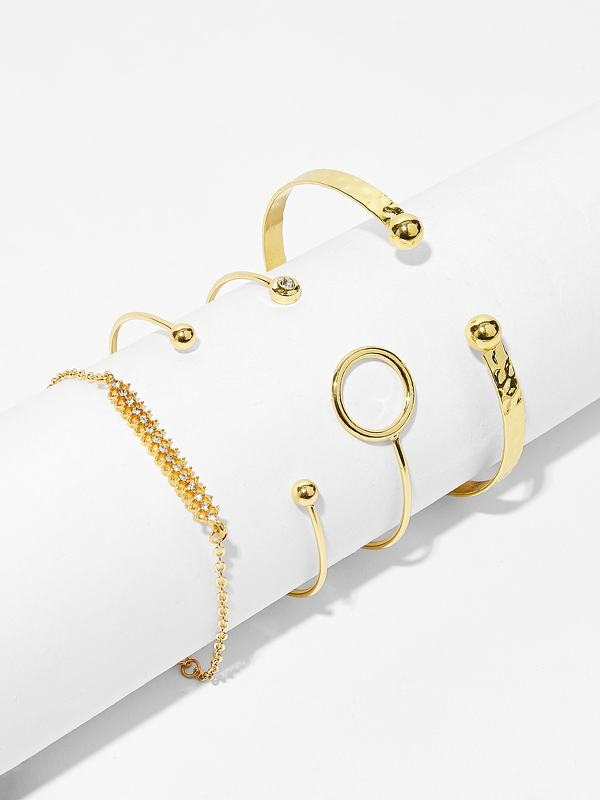 Bar & Circle Detail Bracelet 4pcs