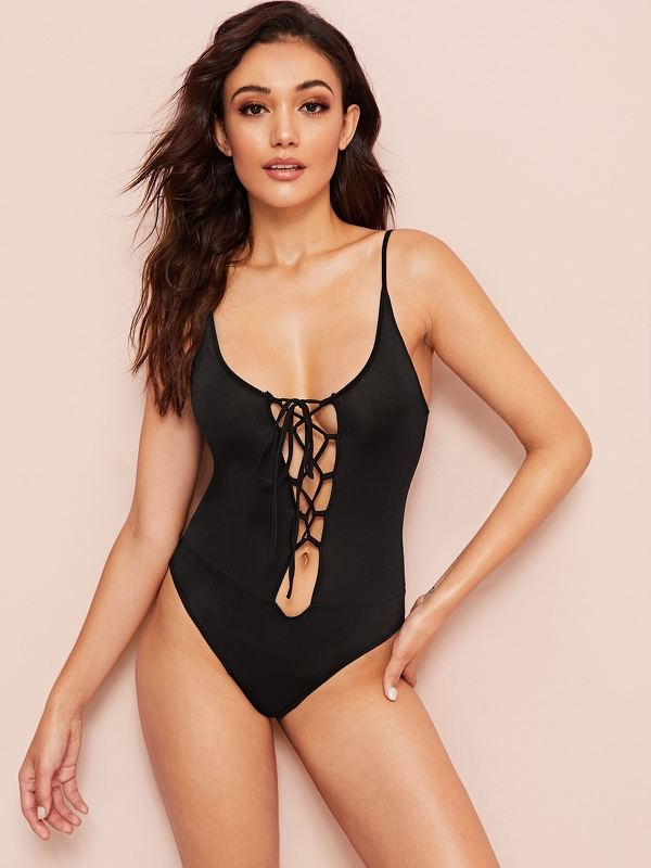 Criss Cross Front Solid Bodysuit
