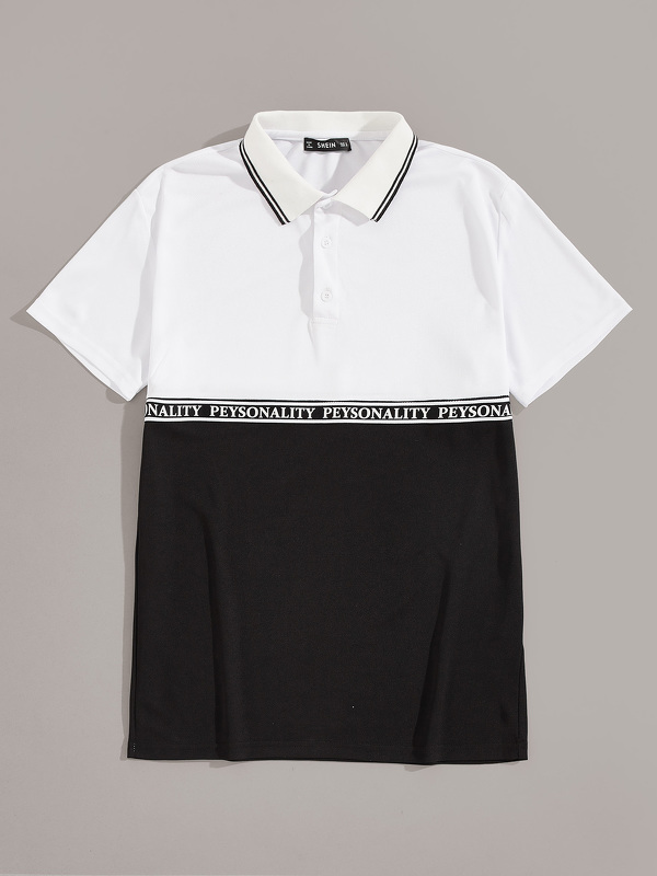 Men Letter Tape Color-block Polo Shirt
