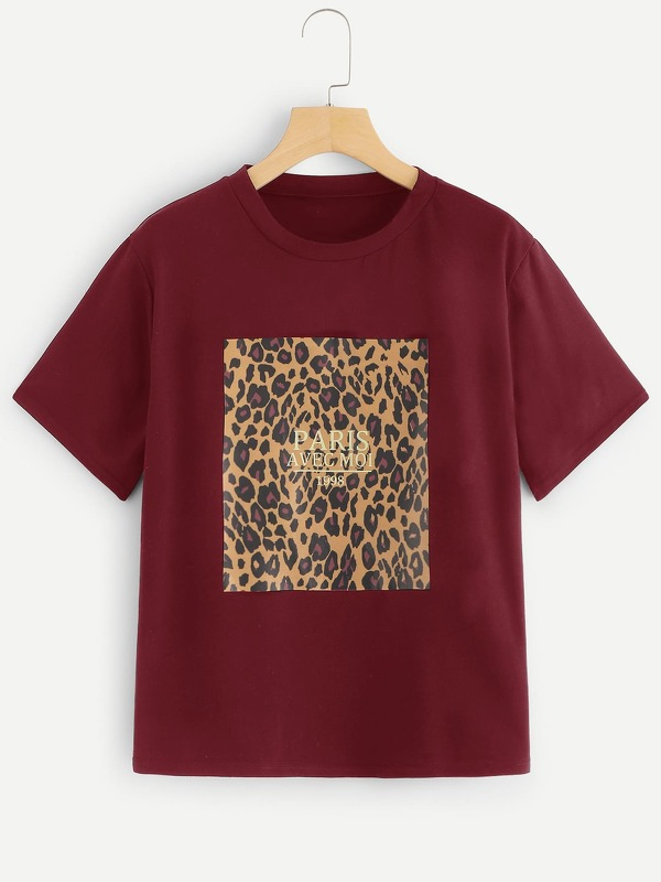 Leopard And Letter Print Tee