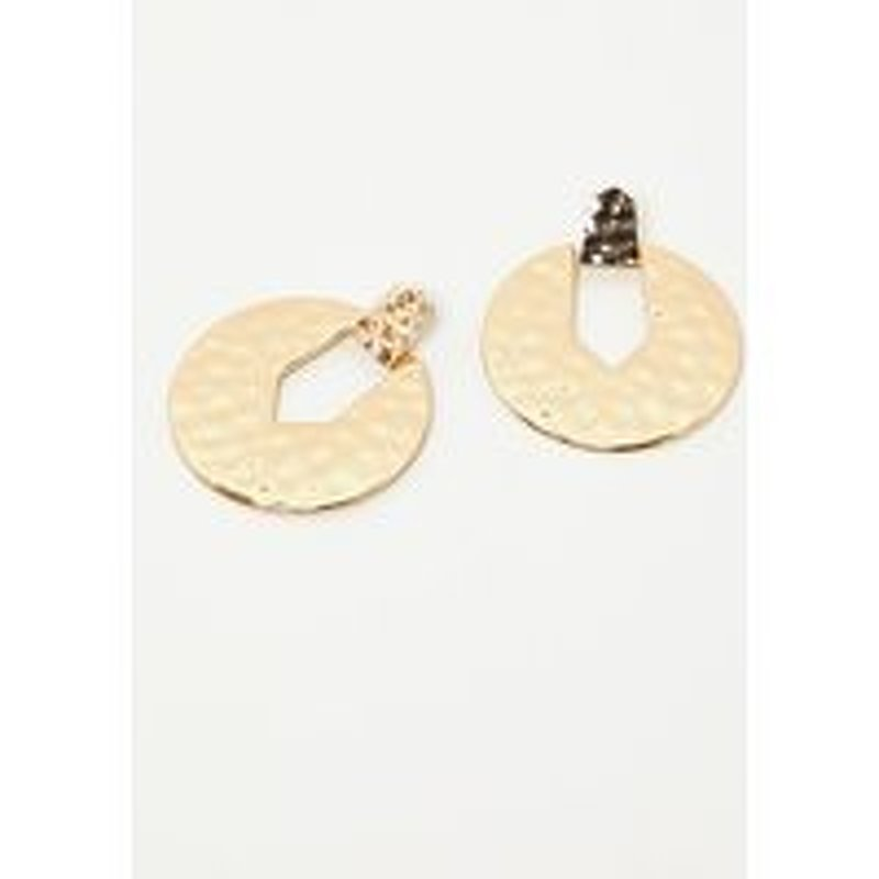 Gold Hammered Cut Out Circle Earrings