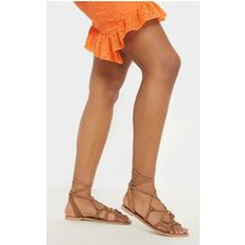 Tan Knot Strappy Leather Sandal