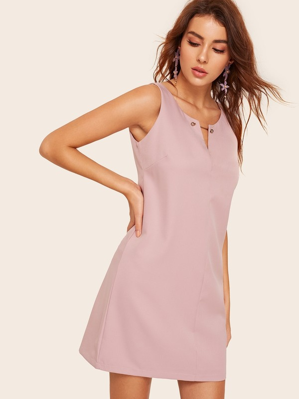 Solid V-neck Dress