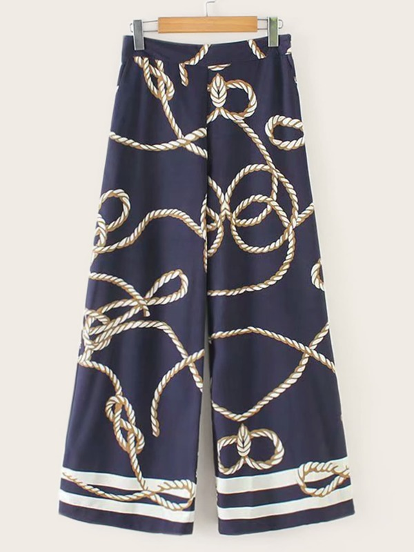 Rope Print Wide Leg Pants