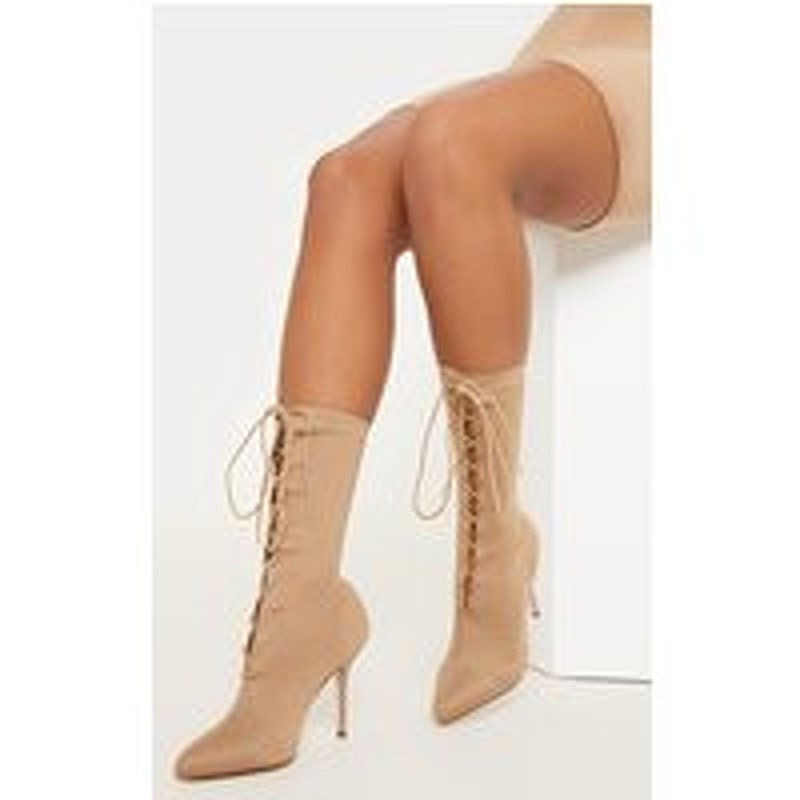 Nude Mid Heel Lace Up Ankle Boot