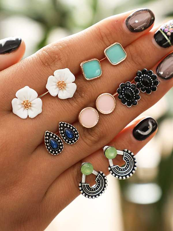 Square & Flower Stud Earrings 6pairs