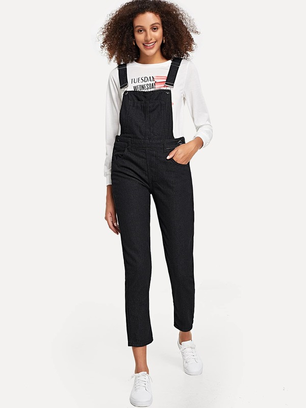 Pocket Side Solid Denim Overalls