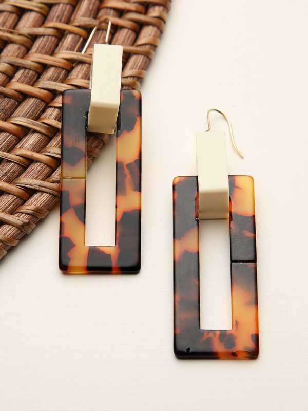 Square Leopard Acetate Dangle Earrings