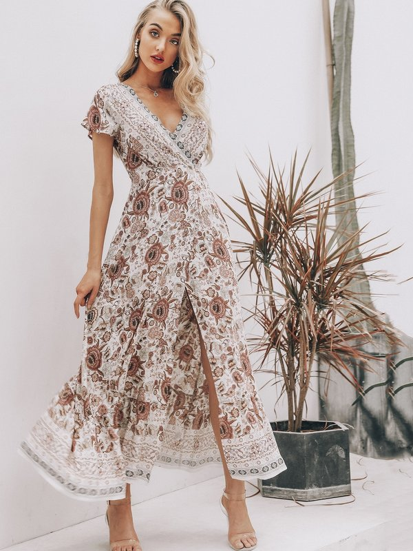 Simplee Flutter Sleeve Tie Back Floral Wrap Dress