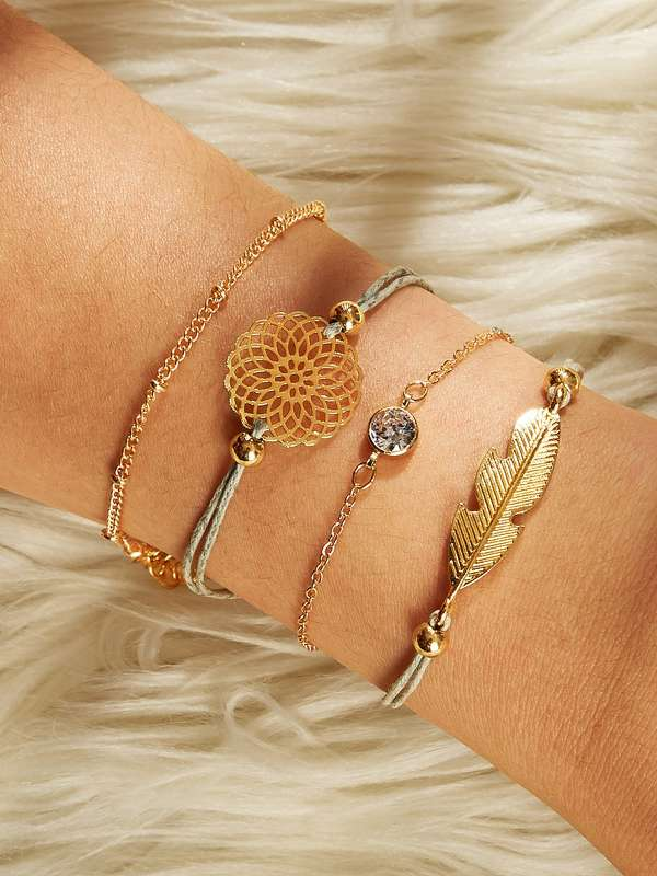 Feather & Hollow Disc Bracelet Set 4pcs