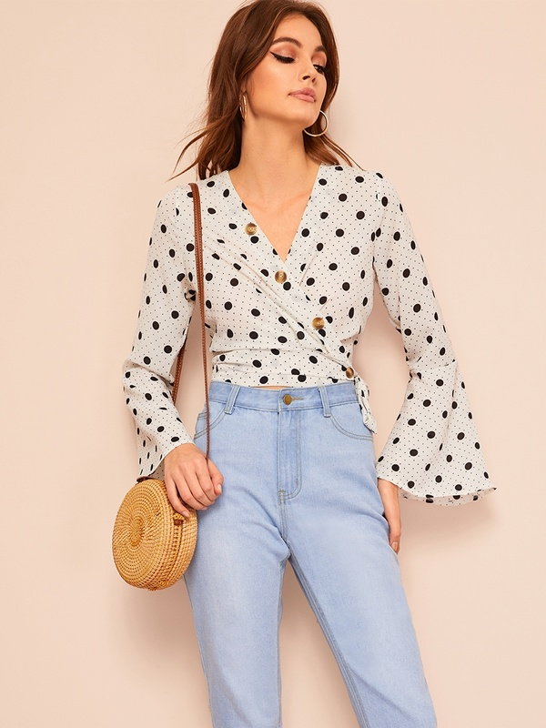 Polka Dot Button Front Wrap Knot Blouse