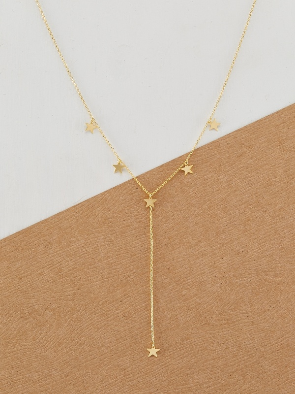 Gold Tone Dainty Chain Star Charm Lariat Necklace