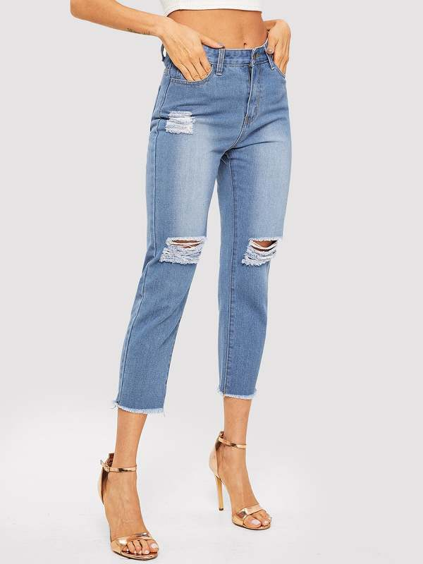 Knee Rips Raw Hem Jeans