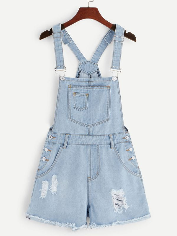 Pocket Front Ripped Bleach Wash Denim Overalls