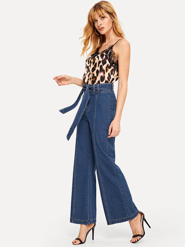 Waist Belted Flare Jeans