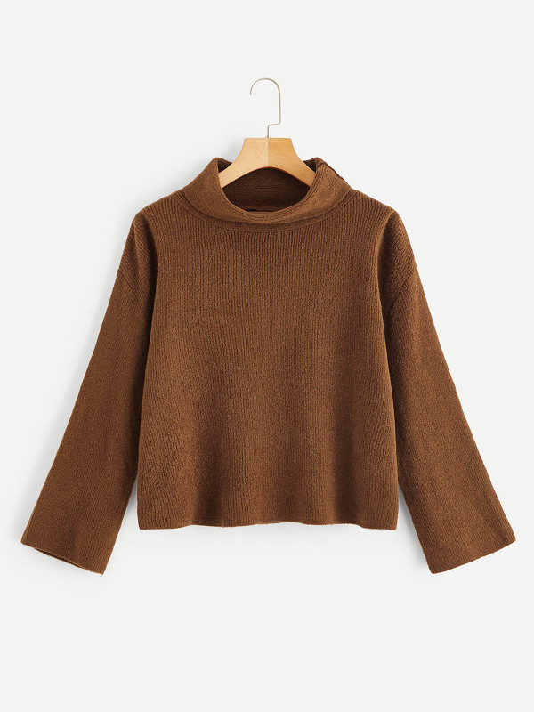 Rolled Neck Solid Chenille Jumper
