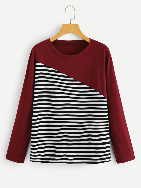 Contrast Striped Print Tee